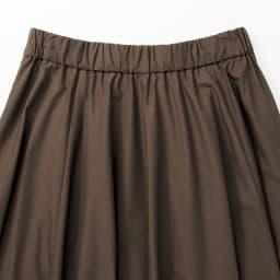 コットン素材 フレアースカート (イ)カーキブラウン BACK