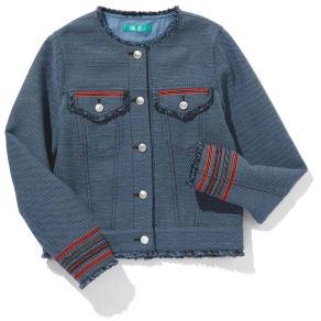 フランス素材 パネルジャカード フリンジ使いジャケット 写真