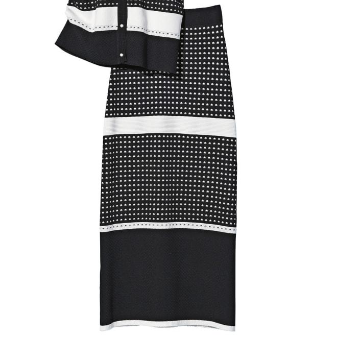 編み地変化 ボーダーニット ロングスカート コーディネート例