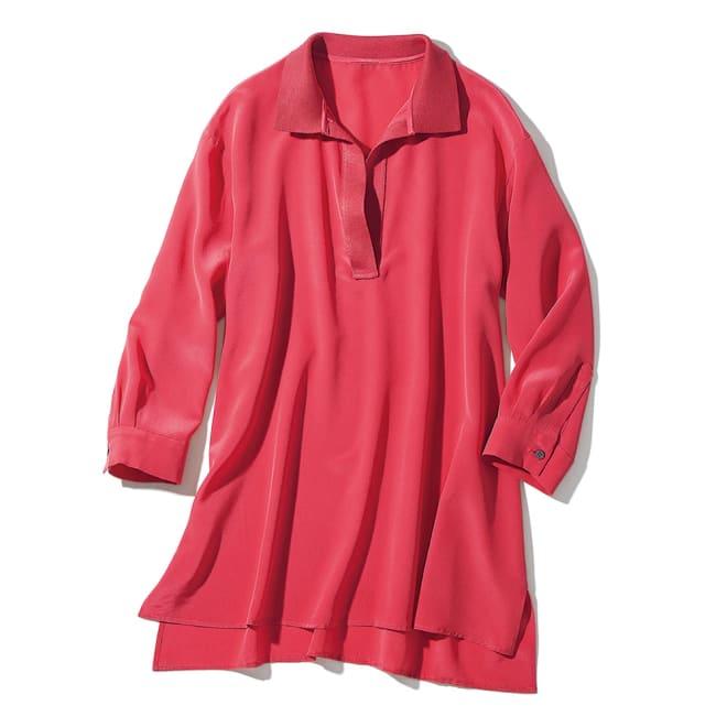 シルクデシン×シルクニット スキッパーシャツ チュニック