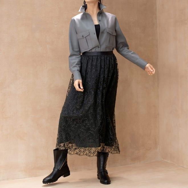 アルベール・ゲガン社 チュール刺繍 ロングスカート コーディネート例