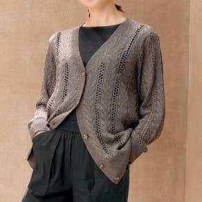 イタリア糸 ケーブル&透かし編み カーディガン 写真