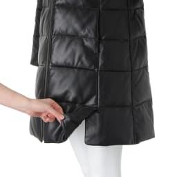 ブルーフォックスファー付き レザーダウンコート 両前裾ベント仕様