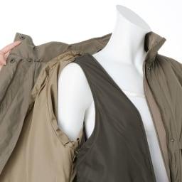 中わたライナー・フォックスファー付き はっ水加工 モッズ風コート ※白のインナーは含まれません。