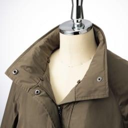 中わたライナー・フォックスファー付き はっ水加工 モッズ風コート フォックスファーの襟は内側ボタンで取り外し