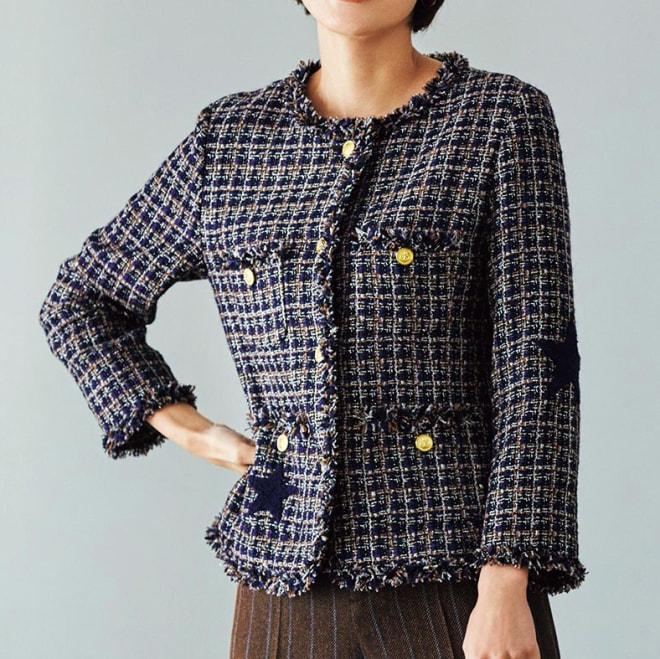 星柄さがら刺繍ツイードジャケット コーディネート例
