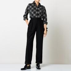 (股下丈63cm)ウール混フラノ素材 裾ツイストコクーンパンツ