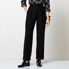 (股下丈67cm)ウール混フラノ素材 裾ツイストコクーンパンツ 写真