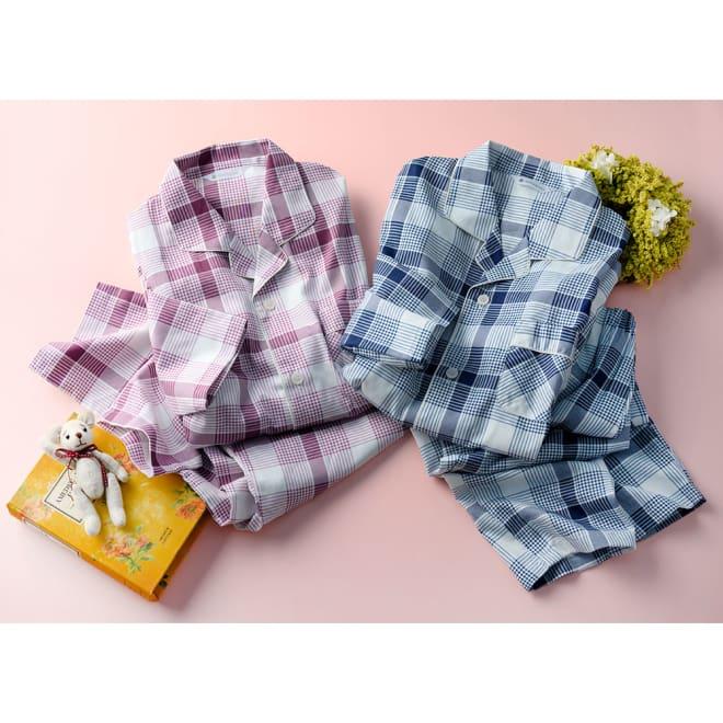 日本製 綿100% 抗菌防臭チェックパジャマ(男女兼用)
