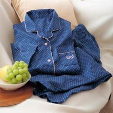 日本製 綿100%サテンドット柄パジャマ 写真