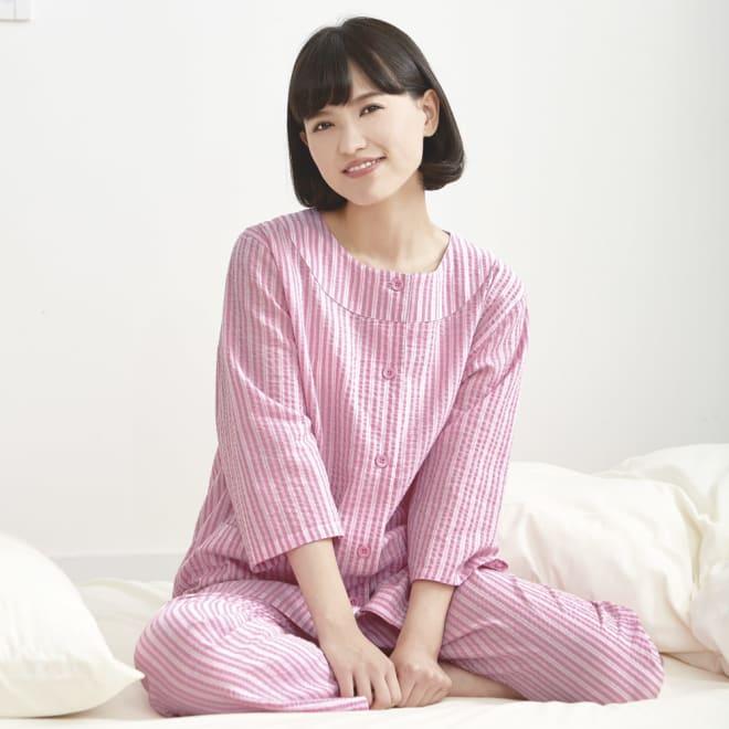 綿100%涼やかクルーネックパジャマ (ア)ピンク Pink 美と若さをイメージさせるピンク 心と体を若返らせるあたたかさを持つカラー。安らぎに満ち足りた気分に。