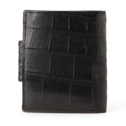 クロコダイル 二つ折り財布 (ウ)マットブラック BACK