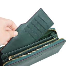 BARCOS/バルコス レザー ラウンドファスナー 長財布 便利なカードケース付き