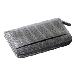 クロコダイル 三方長財布 (ク)マットグレー