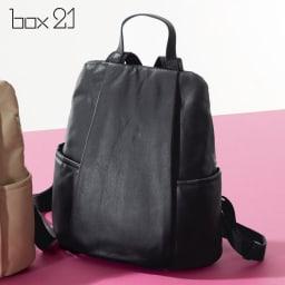 BOX21/ボックス21 ソフトレザーリュック (ア)ブラック