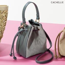 Cachellie/カシェリエ 素材コンビ巾着2WAYバッグ (イ)グレー系
