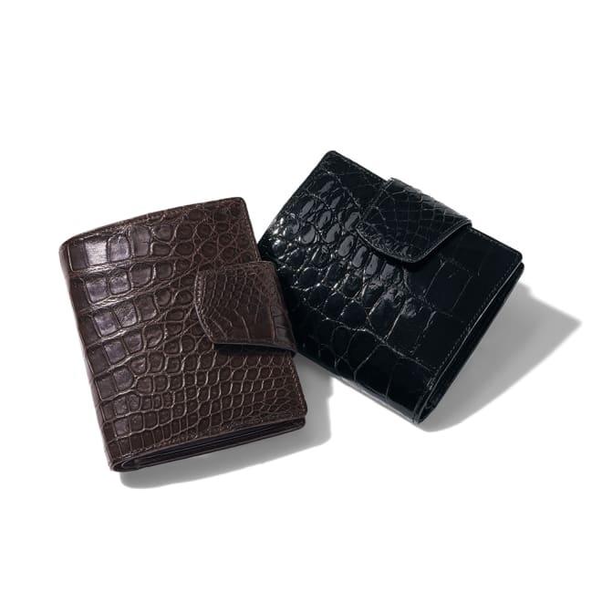 クロコダイル 二つ折り財布 左から (イ)マットブラウン (ア)ブラック