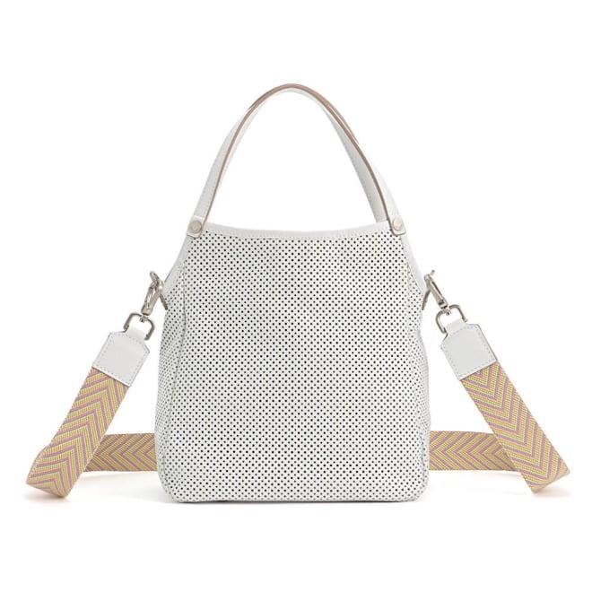 ARCADIA/アルカディア パンチングレザー 2WAY バッグ(イタリア製) ホワイト