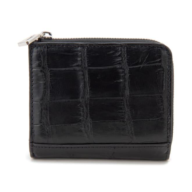 RODANIA/ロダニア クロコダイル コンパクト財布 (ア)ブラック×ブラック