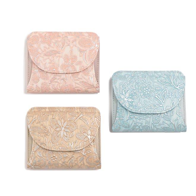 Arukan/アルカン クレア 二つ折財布 左上から時計回りに(イ)ピンク (ウ)ライトブルー (ア)ベージュ