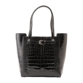 クロコダイル ベルトデザインバッグ ブラック 写真