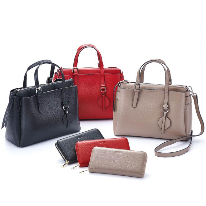 BARCOS/バルコス レザーバッグ&長財布セット 左から (ア)ブラック、(ウ)レッド、(イ)トープ