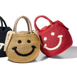 a-jolie/アジョリー スマイル刺繍 かごバッグ 左から (イ)ベージュ (ア)レッド