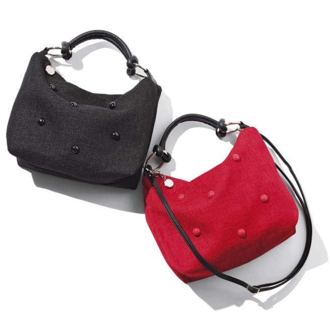 Teresa Cambi/テレサカンビ ドット飾り バッグ(イタリア製) 左から (ア)ブラック (イ)レッド