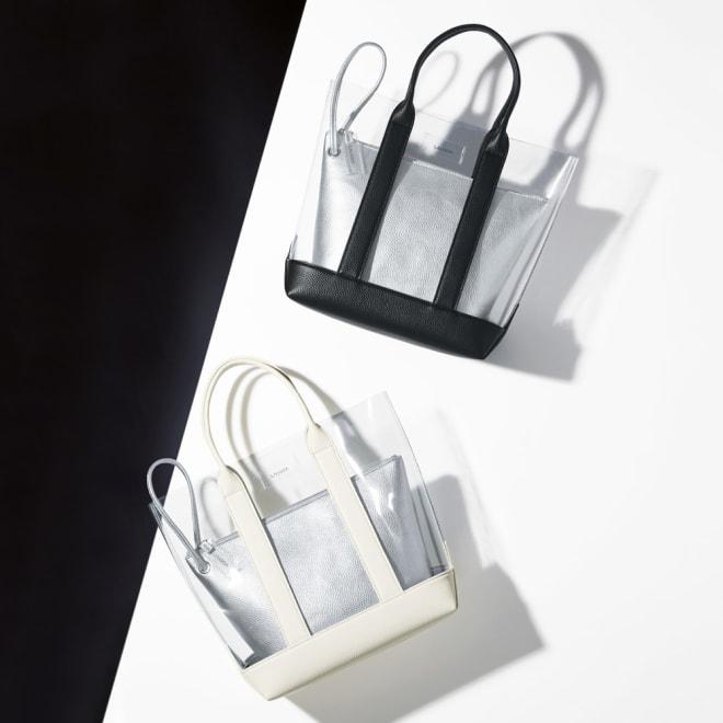 Laugoa/ラウゴア インポーチ付き PVC トートバッグ 上から (ア)ブラック (イ)ホワイト
