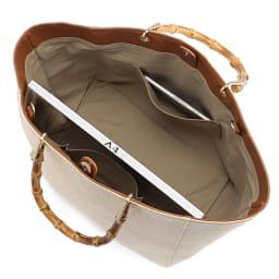 LE VERNIS/ル・ヴェルニ バンブーハンドル ライン トート INSIDE A4横サイズ収納可/138mm×67mmスマートフォン内ポケット収納可