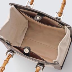 LE VERNIS/ル・ヴェルニ コンビバンブー トートパッグ INSIDE  *内側素材の仕様変更:マチ部分内側も胴部分と同じ生地となります。