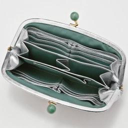 Perche/ペルケ 天然石のがまぐち 羊革お財布クラッチ INSIDE