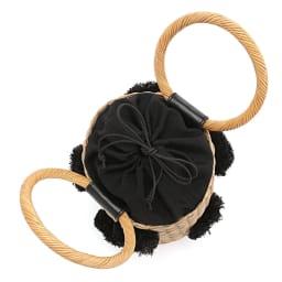Cachellie/カシェリエ ポンポン付き カゴバッグ 巾着式開閉