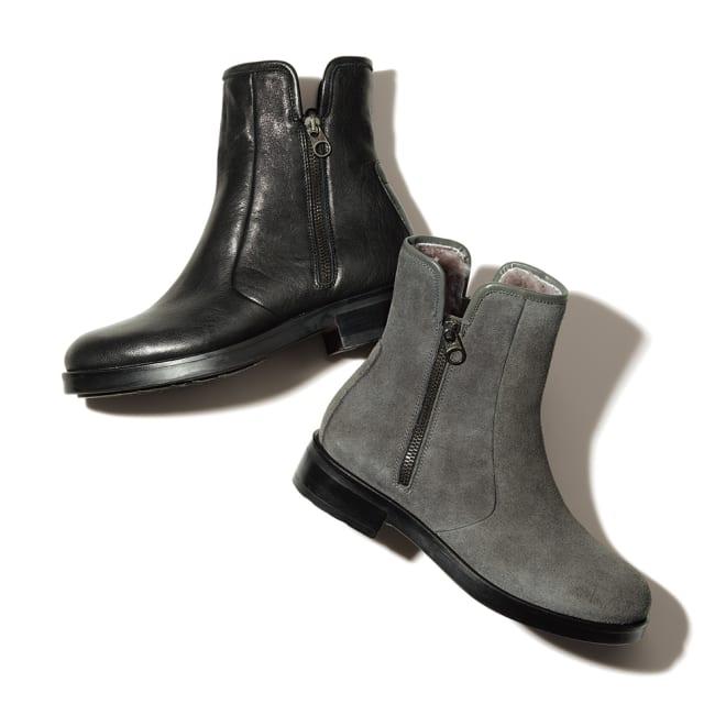 STEFANO GAMBA/ステファノ ガンバ インナームートン ショートブーツ(イタリア製) 左から (ア)ブラック (イ)グレー