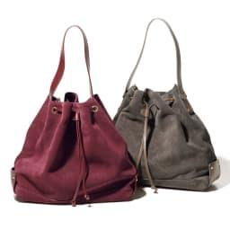 TOSCANI/トスカーニ 巾着 ショルダー 2WAY バッグ(イタリア製) 左から (ア)ボルドー (イ)グレイッシュブラウン