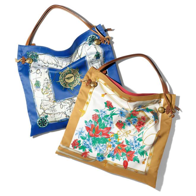 TOPKAPI/トプカピ スカーフ柄 トートバッグ 左から (ア)ブルー系 (イ)ベージュ系