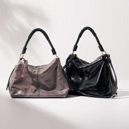 NUOVA STELLA/ヌォヴァステラ デザインハンドル 2WAY バッグ(イタリア製) 左から (ア)グレー (イ)ブラック