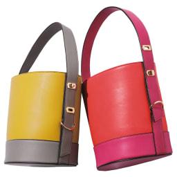 LS Scene/エルエスシーン バイカラー バケツ型バッグ 左から (イ)イエロー×グレー (ア)レッド×ピンク