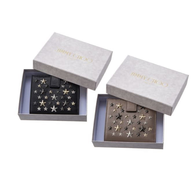 JIMMY CHOO/ジミー・チュウ 折財布 FRIDA LTR 左から(ア)ブラック、(イ)ベージュ