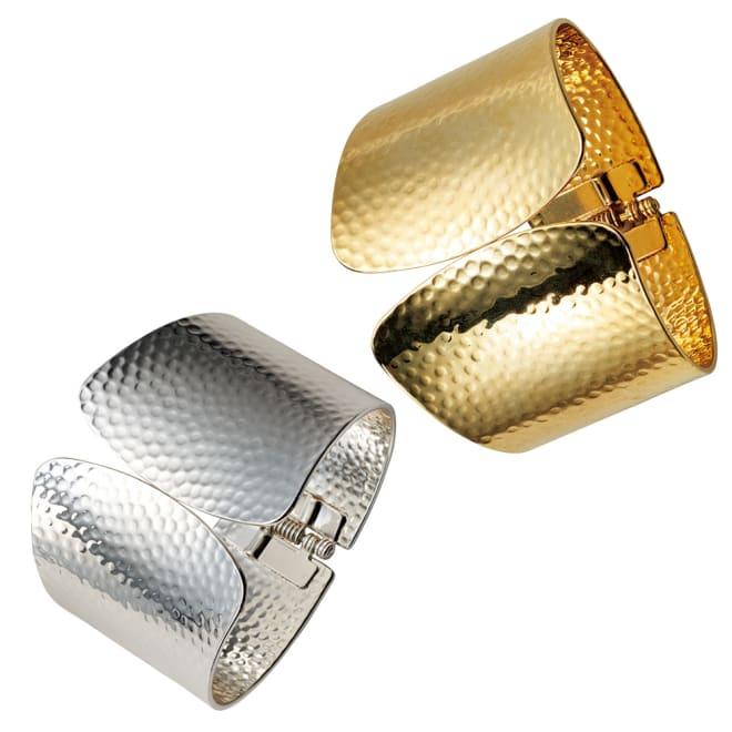 ABISTE/アビステ 幅広デザイン バングル 左から (イ)シルバー系 (ア)ゴールド系
