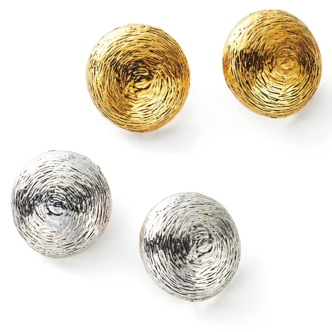 UNE LIGNE/ユヌリーニュ サークルデザイン イヤリング・ピアス(フランス製) 上から (ア)ゴールド系イヤリング (ウ)シルバー系イヤリング