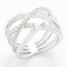 K18WG 0.75ctダイヤ デザインリング