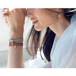 Perle de Lune/ペルル ドゥ リュンヌ K9プレート リボン ブレスレット コーディネート例