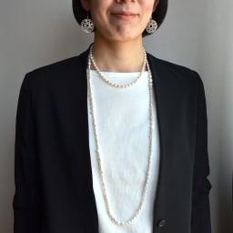 YUKIKO OKURA/ユキコ・オオクラ 淡水パール ロングネックレス (ア)ホワイト コーディネート例