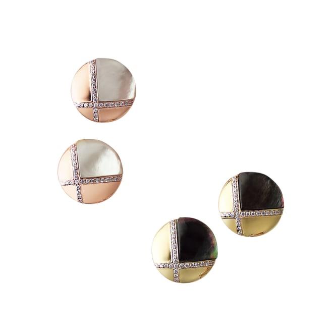entiere/アンティエーレ SV シェルデザイン ピアス 上から (ア)PGカラー×白蝶貝 (イ)YGカラー×黒蝶貝