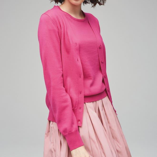 イタリア素材 エキストラファイン メリノウールカーディガン (イ)ピンク