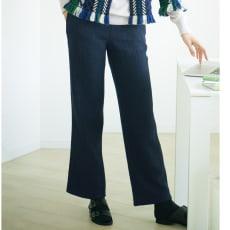 (股下丈78cm) ウールコットン二重織ガーゼ ワイドパンツ