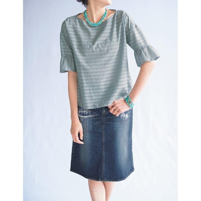 リメイク風加工 デニムスカート コーディネート例