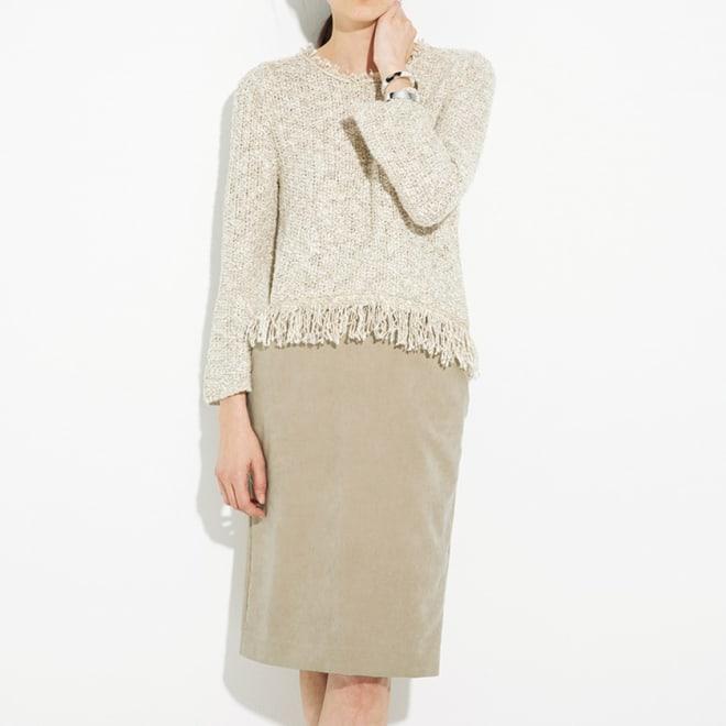 フェイクスエード ポケット付きタイトスカート コーディネート例