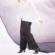 (股下丈62cm)カットワーク刺繍 リネンパンツ